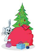White Rabbit, Christmas tree and gifts