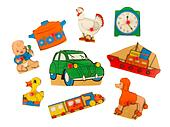 Piece of an antique wooden puzzle for children