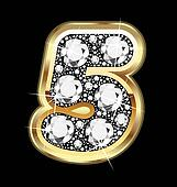 5 number gold and diamond bling