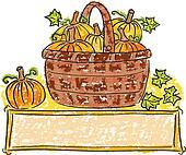 Basket with pumpkins