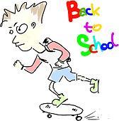 Boy - back to school on skate