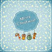 Christmas retro greeting Card with toys and text Merry Christmas
