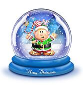 Whimsical Cartoon Elf Snow Globe