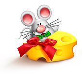 Whimsical Cartoon Santa Mouse