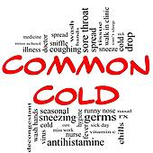 Common Cold Word Cloud Concept in red & black