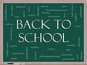 Back to School Word Cloud Concept on a Blackboard