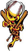 Softball Baseball Ball and Bats Flaming Cartoon Illustration