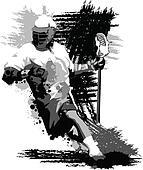 Lacrosse Player Splatter Vector Illustration