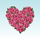 Pink roses in a heart shape