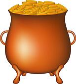Pot with golden money coins