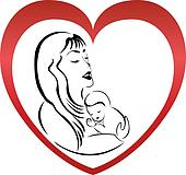 Mother and son logo vector