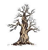 Tree Silhouette Vector Illustration. Bonsai Art