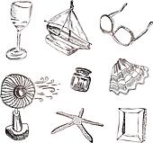 Vector set of vocation icons. Wine glass, boat, sunglasses, fan,