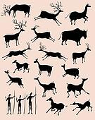 Cave rock painting animals silhouettes vector set