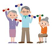 Group of older mature people liftin