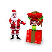 santa and elves with gift box