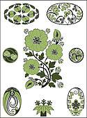 Art Nouveau - flower pattern