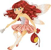 Pretty red haired tooth fairy