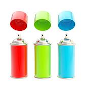 RGB colored spray oil color cylinders isolated