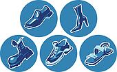 Icon set of shoes