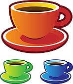 Colorful vectors: coffee cups