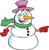 Pointing snowman