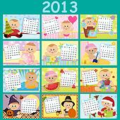 Baby's monthly calendar for 2013