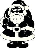 Santa Claus with bag of gifts, silhouette