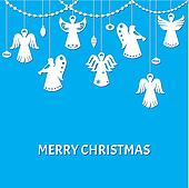 Merry Christmas Greeting Card - Angels - paper cut style - in vector