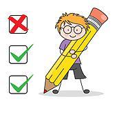 Boy filling a questionnaire
