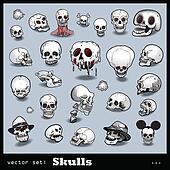 vector set of skulls
