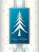 Christmas greeting card design with origami christmas tree