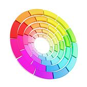 Color range spectrum circle round palette isolated