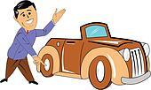 car salesman with classic car