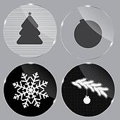 Glass Christmas button vector illustration