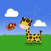 Cute Giraffe and Butterfly