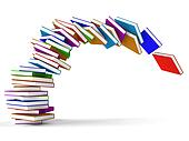 Stack Of Falling Books Representing Learning And Education
