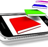 Mobile Phone With Flying Books Shows Online Knowledge
