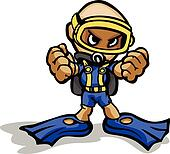 Scuba Diver with Clenched Fists Vector Cartoon Illustration
