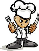 Tough Guy Cartoon Kitchen Chef with Hat Holding Knife and Fork V