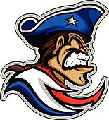Patriot Mascot with Mean Expression and Hat Graphic Vector Illus