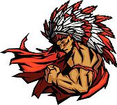 Indian Chief Mascot Flexing Arm Vector Graphic