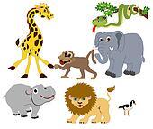 Wild Animals illustrations Isolated