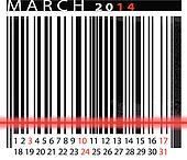 MARCH 2014 Calendar, Barcode Design. vector illustration