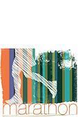 Marathon runner in abstract background. Vector illustration