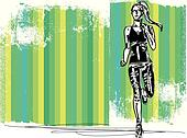 Sketch of female marathon runner, view of back and front. Vector illustration