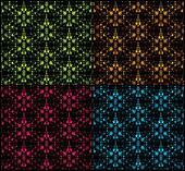 Set seamless damask pattern. Vector illustration