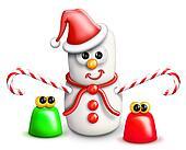 Whimsical Cartoon Marshmallow Snowm