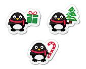 Christmas icons with penguins