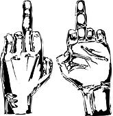 Sketch of Hand show fuck off with the middle finger. Vector illustration